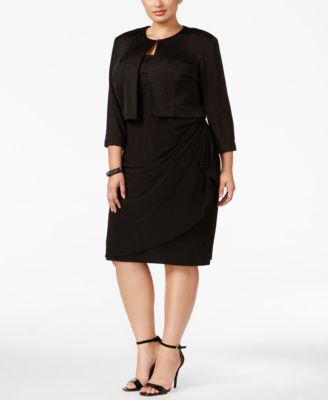 MSK Plus Size Glitter Draped Dress and Jacket