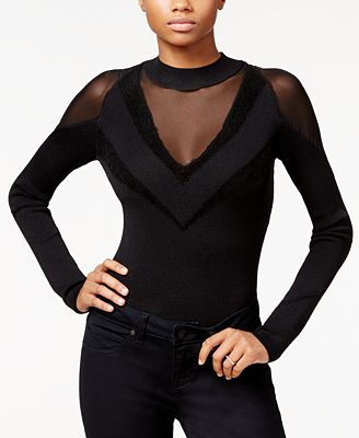 RACHEL Rachel Roy Mixed Media Bodysuit, Created for Macy's