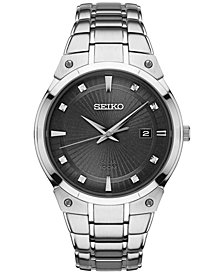 Seiko Men's Solar Diamond Accent Stainless Steel Bracelet Watch 41mm SNE429