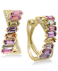 EFFY® Watercolors Multi-Sapphire (2-5/8 ct. t.w.) and Diamond Accent Hoop Earrings in 14k Gold, Created for Macy's