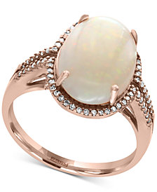 Aurora by EFFY® Opal (3-1/10 ct. t.w.) and Diamond (1/5 ct. t.w.) Ring in 14k Rose Gold