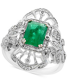 Brasilica by EFFY® Emerald (1-3/8 ct. t.w.) and Diamond (1/5 ct. t.w.) Ring in 14k White Gold, Created for Macy's