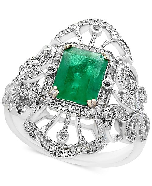 EFFY Collection Brasilica by EFFY® Emerald (1-3/8 ct. t.w.) and Diamond (1/5 ct. t.w.) Ring in 14k White Gold, Created for Macy's