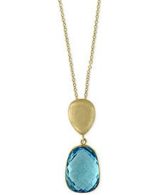 Ocean Bleu by EFFY® Blue Topaz Pendant Necklace (8-1/6 ct. t.w.) in 14k Gold