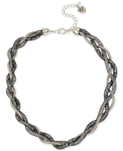 Betsey Johnson Silver-Tone Braided Crystal Mesh Collar Necklace