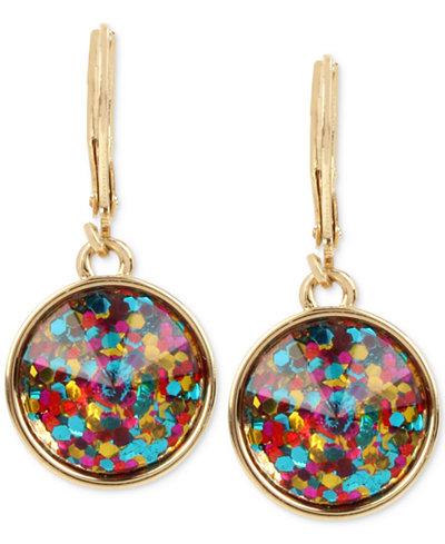 Betsey Johnson Gold-Tone Confetti Stone Drop Earrings