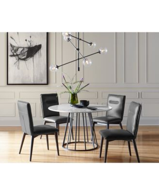 Image 3 Of Callisto Marble Round Dining Set, 7 Pc. (Dining Table