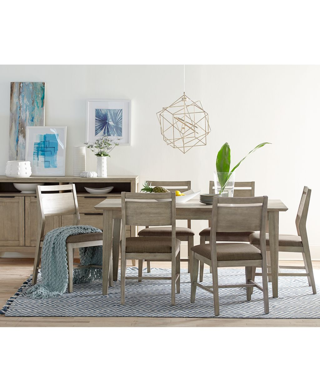 Kips cove dining furniture 7 pc set dining table 6 for Latest dining table set