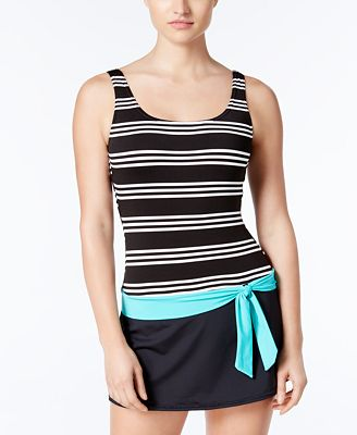 JAG Harbour Stripe Belted Swim Dress