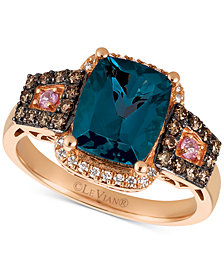 Le Vian Chocolatier® Blue Topaz (3 ct. t.w.), Diamond (3/8 ct. t.w.) and Pink Sapphire Accent Ring in 14k Rose Gold