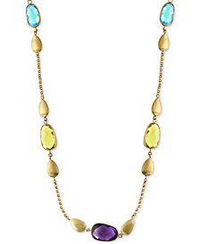 EFFY® Multi-Gemstone and Teardrop Statement Necklace (13-1/2 ct. t.w.) in 14k Gold