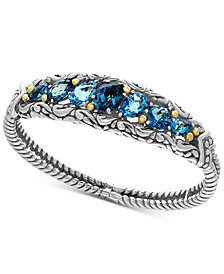 EFFY® Ocean Bleu London Blue Topaz (7-1/2 ct. t.w.) and Swiss Blue Topaz (5-1/8 ct. t.w.) Bracelet in Sterling Silver and 18k Gold