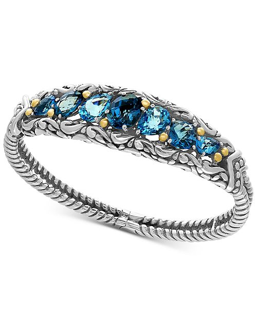 EFFY Collection EFFY® Ocean Bleu London Blue Topaz (7-1/2 ct. t.w.) and Swiss Blue Topaz (5-1/8 ct. t.w.) Bracelet in Sterling Silver and 18k Gold