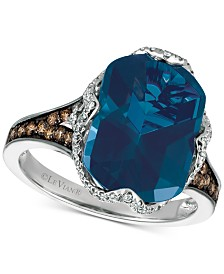 Le Vian Chocolatier® Blue Topaz (6-9/10 ct. t.w.) and Diamond (3/8 ct. t.w.) Ring in 14k White Gold