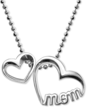"""Double Heart """"Mom"""" Pendant Necklace in Sterling Silver"""