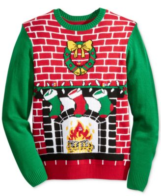 Ugly Christmas Sweater Men's Light-Up Fireplace Christmas Sweater ...