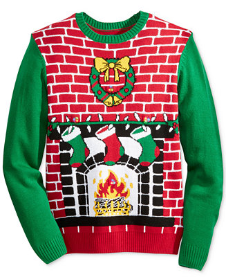Ugly Christmas Sweater Men 39 S Light Up Fireplace Christmas Sweater Sweaters Men Macy 39 S