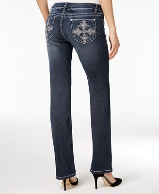 Project Indigo Juniors' Embellished Barely Bootcut Jeans - Juniors ...