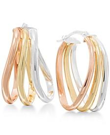 Tri-tone Oval Hoop Earrings in Sterling Silver and 18k Gold-Plated and Rose Gold-Plated Sterling Silver