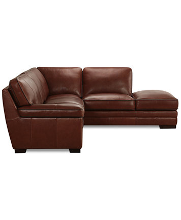Myars 2 Pc Leather Sectional W Chaise Furniture Macy S