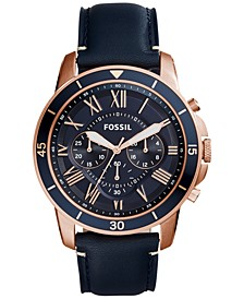 Men's Chronograph Grant Sport Blue Leather Strap Watch 44mm FS5237