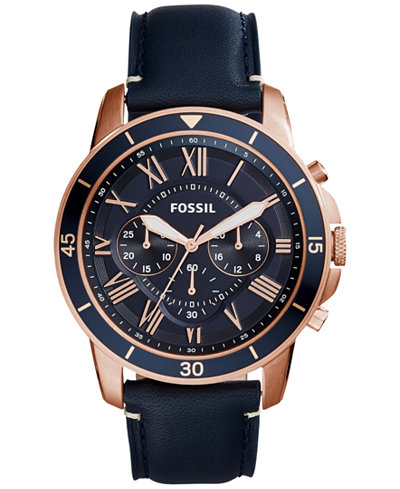 fossil fossil macy s fossil men s chronograph grant sport blue leather strap watch 44mm fs5237
