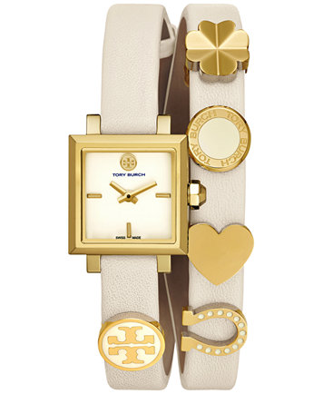 double strap watch tory burch womens swiss saucy ivory leather double wrap strap