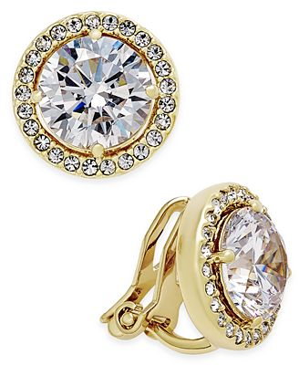 Danori Gold Tone Bezel Set Crystal Clip On Earrings Created For