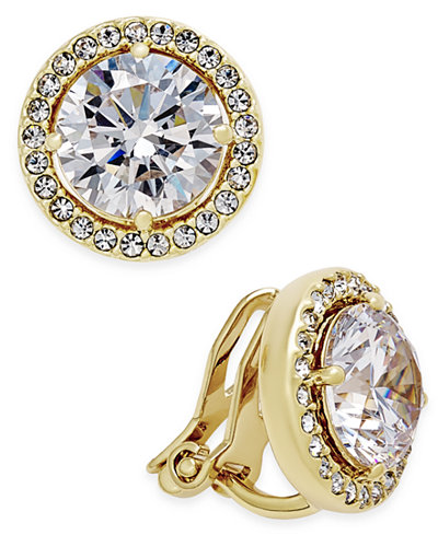 Danori Gold-Tone Bezel-Set Crystal Clip-On Earrings, Created for Macy's