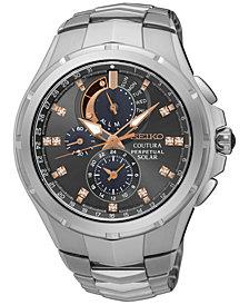 Seiko Men's Solar Chronograph Coutura Diamond Accent Stainless Steel Bracelet Watch 44mm SSC561