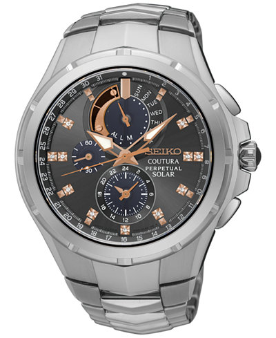Seiko Men S Solar Chronograph Coutura Diamond Accent