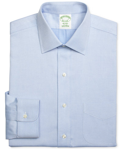 Brooks Brothers Men's Regent Classic-Fit Non-Iron Diamond Light Blue Solid Dress Shirt