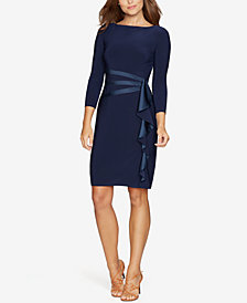 American Living Satin Ruffle Sheath Dress
