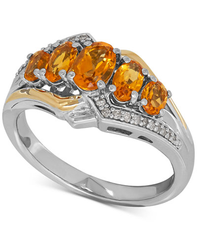 Citrine (1-1/4 ct. t.w.) and Diamond Accent Ring in Sterling Silver and 14k Gold