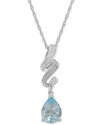 Aquamarine (1-3/4 ct. t.w.) and Diamond Accent Swirly Pendant Necklace in Sterling Silver