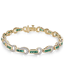 Certified Ruby (3 ct. t.w.) and Diamond (5/8 ct. t.w.) Swirl Link Bracelet in 14k Gold(Also Available In Emerald)
