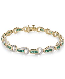 Emerald (2-1/2 ct. t.w.) and Diamond (5/8 ct. t.w.) Swirl Link Bracelet in 14k Gold(Also Available In Certified Ruby)