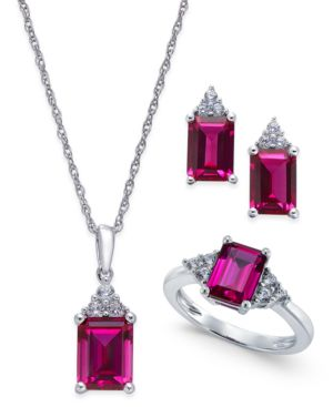 Lab-Created Ruby (5 ct. t.w.) and White Sapphire (3/8 ct. t.w.) Jewelry Set in Sterling Silver -  Macy's