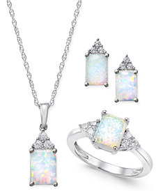 Lab-Created Opal (1-1/2 ct. t.w.) and White Sapphire (3/8 ct. t.w.) Jewelry Set in Sterling Silver
