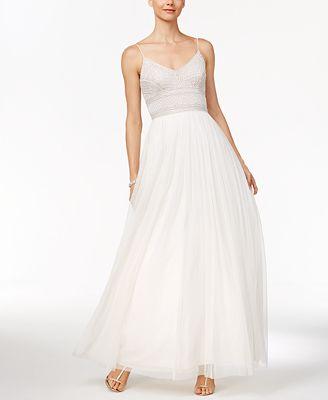 Adrianna Papell Beaded A Line Gown Dresses Women Macys