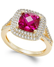 Lab-Created Ruby (2-1/2 ct. t.w.) and White Sapphire (1/2 ct. t.w.) Ring in 14k Gold-Plated Sterling Silver