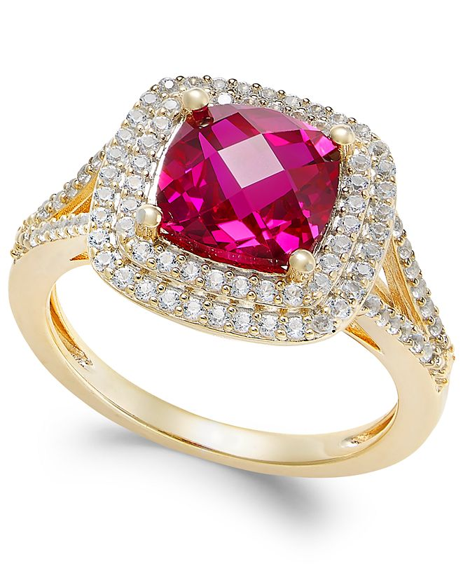 Macy's Lab-Created Ruby (2-1/2 ct. t.w.) and White Sapphire (1/2 ct. t.w.) Ring in 14k Gold-Plated Sterling Silver