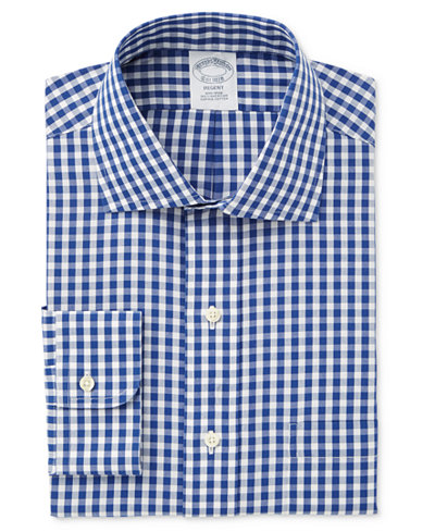 Brooks Brothers Men's Milano Extra-Slim Fit Blue Checked Dress Shirt