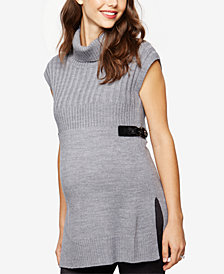 Design History Maternity Sleeveless Turtleneck Sweater