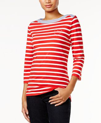 Tommy Hilfiger Esme Striped Embellished Top, Only at Macy's