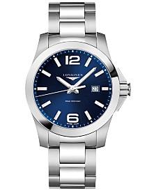 Longines Men's Conquest Stainless Steel Bracelet Watch 43mm L37604966