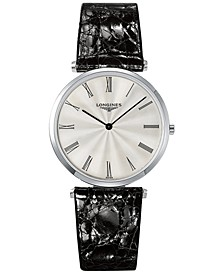 Men's Swiss La Grande Classique de Longines Black Leather Strap Watch 36mm L47554712