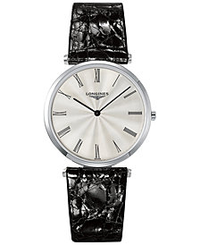 Longines Men's Swiss La Grande Classique de Longines Black Leather Strap Watch 36mm L47554712