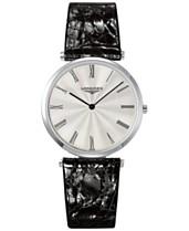 57b0579ad Longines Men's Swiss La Grande Classique de Longines Black Leather Strap  Watch 36mm L47554712