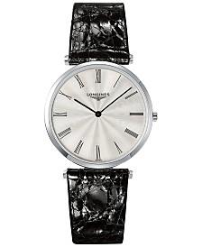 Longines Men's Swiss La Grande Classique de Longines Black Leather Strap Watch 36mm L47554712